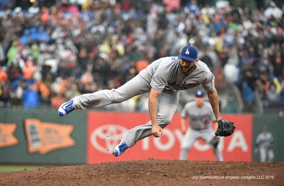 Los Angeles Dodgers Chris Hatcher stumbles during game against the San Francisco Giants Saturday, April 9, 2016 at AT&T Park in San Francisco,California. The Dodgers beat the Giants 3-2.