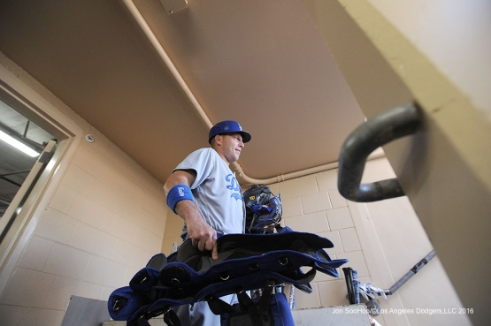 Los Angeles Dodgers A.J. Ellis heads to the field prior to game against the San Diego Padres Monday, April 4, 2016 at Petco Park in San Diego,California. The Dodgers beat the Padres 15-0