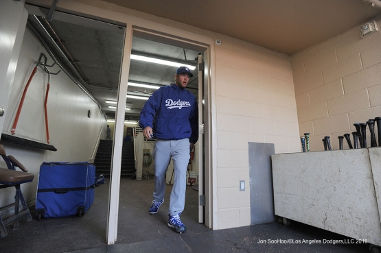 Los Angeles Dodgers Clayton Kershaw heads to the field prior to game against the San Diego Padres Monday, April 4, 2016 at Petco Park in San Diego,California. The Dodgers beat the Padres 15-0