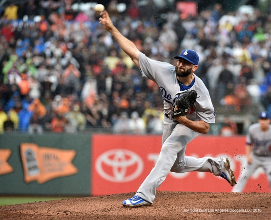 Los Angeles Dodgers Chris Hatcher pitches against the San Francisco Giants Saturday, April 9, 2016 at AT&T Park in San Francisco,California. The Dodgers beat the Giants 3-2.
