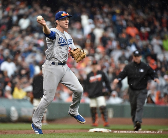 Los Angeles Dodgers Chase Utley throws to first base during game against the San Francisco Giants Saturday, April 9, 2016 at AT&T Park in San Francisco,California. The Dodgers beat the Giants 3-2.