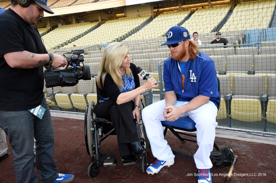 Justin Turner interviewed Friday, April 1, 2016 at Dodger Stadium in Los Angeles,California.