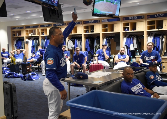 Los Angeles Dodgers Dave Roberts talks to the team prior to game against the Los Angeles Angels of Anaheim Friday, April 1, 2016 at Dodger Stadium in Los Angeles,California.