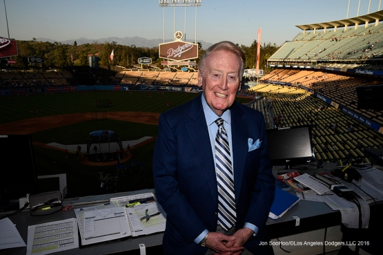 Vin Scully Friday, April 1, 2016 at Dodger Stadium in Los Angeles,California.