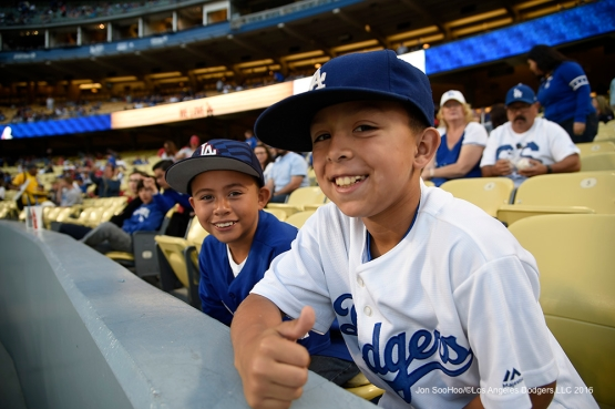 Great Los Angeles Dodger fans during game against the Los Angeles Angels of Anaheim Friday, April 1, 2016 at Dodger Stadium in Los Angeles,California.