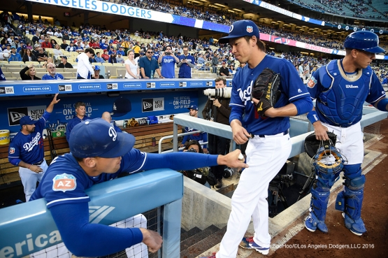 Los Angeles Dodgers Kenta Maeda prior to game against the Los Angeles Angels of Anaheim Friday, April 1, 2016 at Dodger Stadium in Los Angeles,California.
