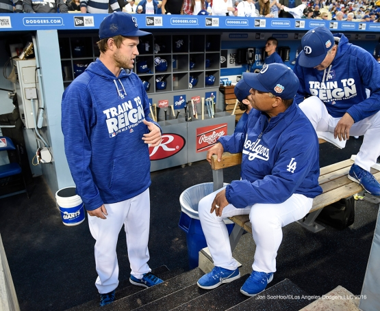 Los Angeles Dodgers Clayton Kershaw and Dave Roberts prior to game against the Los Angeles Angels of Anaheim Friday, April 1, 2016 at Dodger Stadium in Los Angeles,California.
