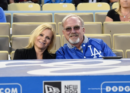 Great Los Angeles Dodger fans prior to game against the Los Angeles Angels of Anaheim Friday, April 1, 2016 at Dodger Stadium in Los Angeles,California.