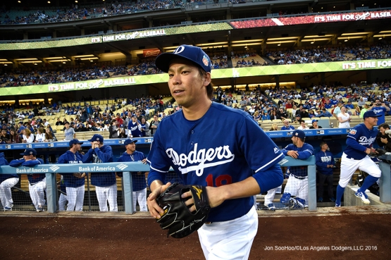 Los Angeles Dodgers Kenta Maeda takes the field to start the game against the Los Angeles Angels of Anaheim Friday, April 1, 2016 at Dodger Stadium in Los Angeles,California.