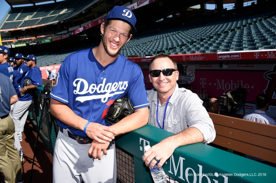 Los Angeles Dodgers Clayton Kershaw and Brandon Cash prior to game against the Los Angeles Angels of Anaheim Saturday, April 2, 2016 at Angels Stadium in Anaheim,California.