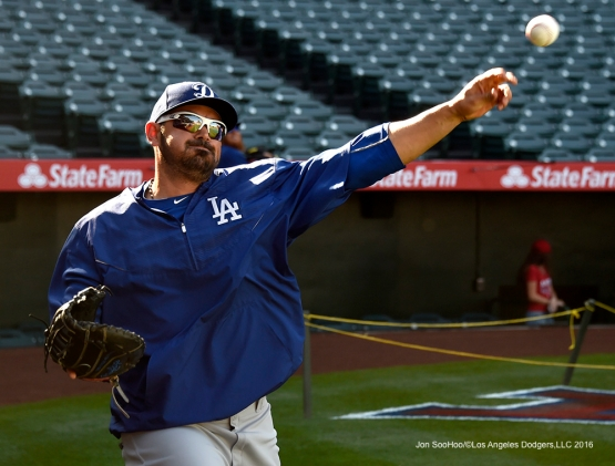 Los Angeles Dodgers during game against the Los Angeles Angels of Anaheim Saturday, April 2, 2016 at Angels Stadium in Anaheim,California.