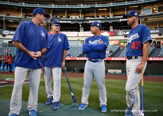 Los Angeles Dodgers Turner Ward, Bob Geren, Dave Roberts and Chris Woodward prior to game against the Los Angeles Angels of Anaheim Saturday, April 2, 2016 at Angels Stadium in Anaheim,California.