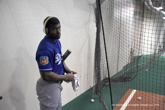 Los Angeles Dodgers Yasiel Puig in the cage prior to game against the Los Angeles Angels of Anaheim Saturday, April 2, 2016 at Angels Stadium in Anaheim,California.