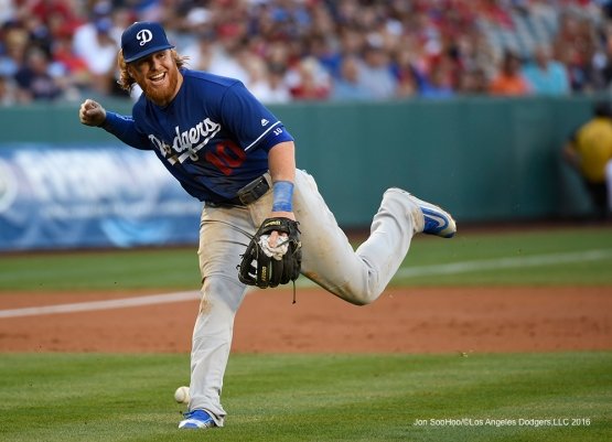 Los Angeles Dodgers Justin Turner during game against the Los Angeles Angels of Anaheim Saturday, April 2, 2016 at Angels Stadium in Anaheim,California.