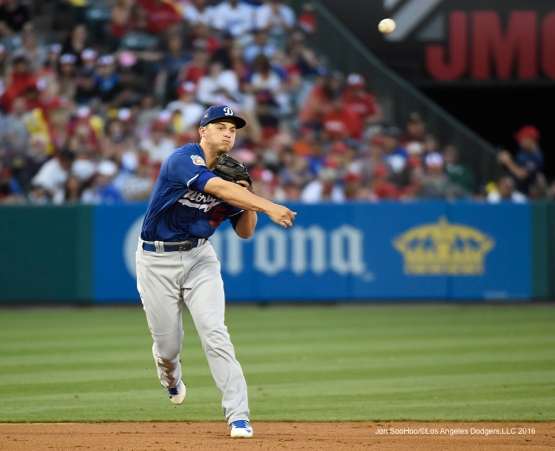 Los Angeles Dodgers Corey Seager throws to first during game against the Los Angeles Angels of Anaheim Saturday, April 2, 2016 at Angels Stadium in Anaheim,California.
