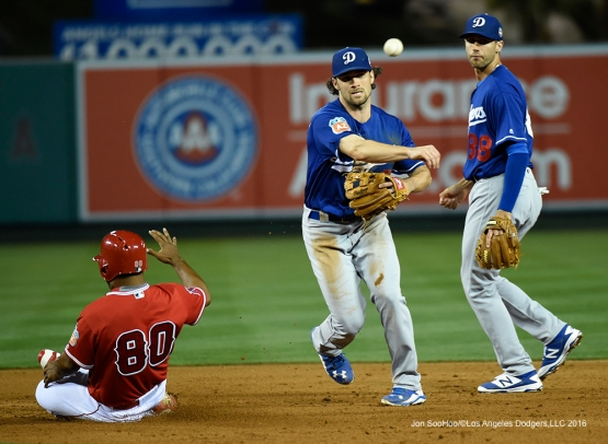 Los Angeles Dodgers Charlie Culbertson turns two during game against the Los Angeles Angels of Anaheim Saturday, April 2, 2016 at Angels Stadium in Anaheim,California.