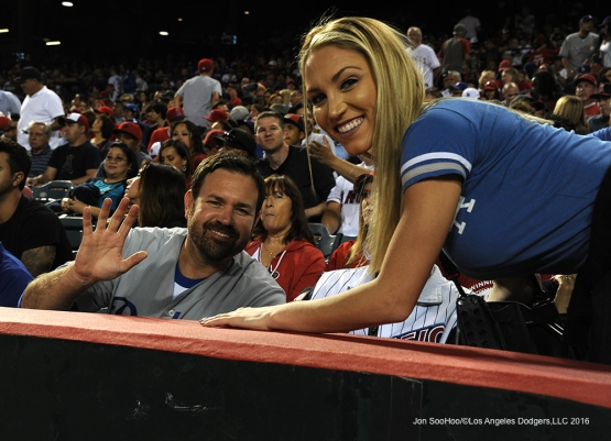 Great Los Angeles Dodger fans during game against the Los Angeles Angels of Anaheim Saturday, April 2, 2016 at Angels Stadium in Anaheim,California.