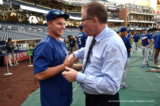 Los Angeles Dodgers Joc Pederson and Orel Hershiser prior to game against the San Diego Padres Tuesday, April 5, 2016 at Petco Park in San Diego,California. The Dodgers beat the Padres 3-0