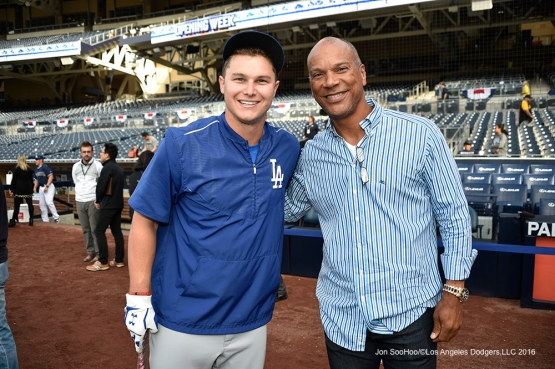 Los Angeles Dodgers Joc Pederson and Moises Alou prior to game against the San Diego Padres Tuesday, April 5, 2016 at Petco Park in San Diego,California. The Dodgers beat the Padres 3-0