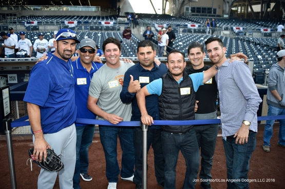 Los Angeles Dodgers Adrian Gonzalez and friends prior to game against the San Diego Padres Tuesday, April 5, 2016 at Petco Park in San Diego,California. The Dodgers beat the Padres 3-0