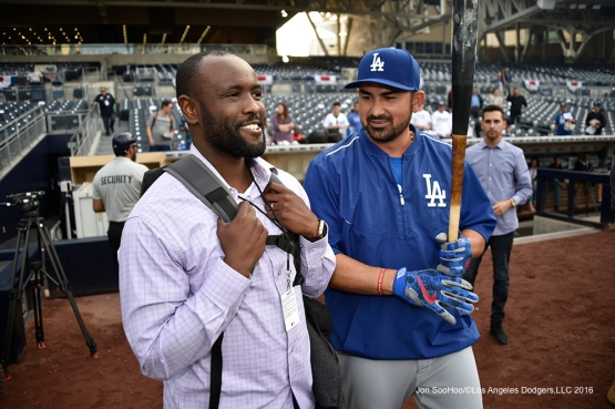 Los Angeles Dodgers Adrian Gonzalez and Tony Gwynn Jr prior to game against the San Diego Padres Tuesday, April 5, 2016 at Petco Park in San Diego,California. The Dodgers beat the Padres 3-0