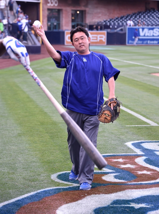 Los Angeles Dodgers Possum Nakajima plays catch prior to game against the San Diego Padres Tuesday, April 5, 2016 at Petco Park in San Diego,California. The Dodgers beat the Padres 3-0
