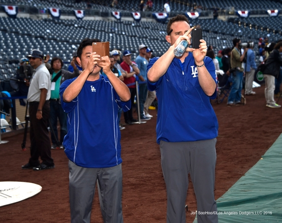 Los Angeles Dodgers Possum Nakajima and Steve Smith prior to game against the San Diego Padres Tuesday, April 5, 2016 at Petco Park in San Diego,California. The Dodgers beat the Padres 3-0