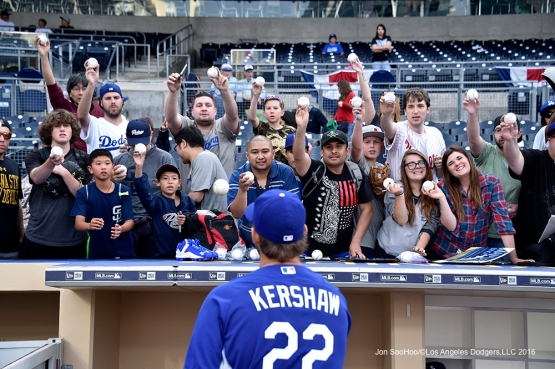 Los Angeles Dodgers Clayton Kershaw signs for fans prior to game against the San Diego Padres Tuesday, April 5, 2016 at Petco Park in San Diego,California. The Dodgers beat the Padres 3-0