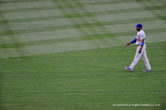 Los Angeles Dodgers Yasiel Puig during game against the San Diego Padres Tuesday, April 5, 2016 at Petco Park in San Diego,California. The Dodgers beat the Padres 3-0