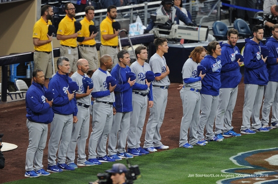 Los Angeles Dodgers on the line for anthem prior to game against the San Diego Padres Tuesday, April 5, 2016 at Petco Park in San Diego,California. The Dodgers beat the Padres 3-0