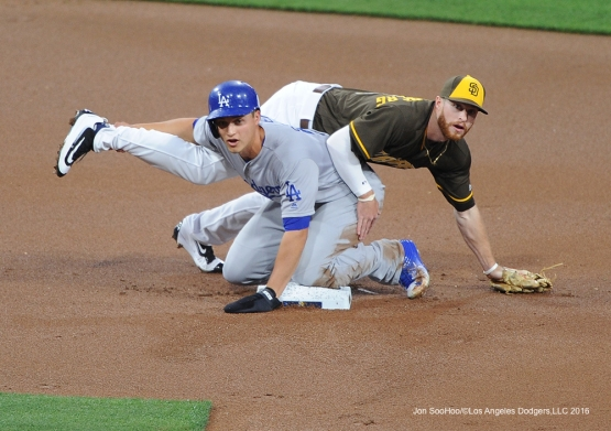 Los Angeles Dodgers Corey Eisner at second base during game against the San Diego Padres Tuesday, April 5, 2016 at Petco Park in San Diego,California. The Dodgers beat the Padres 3-0