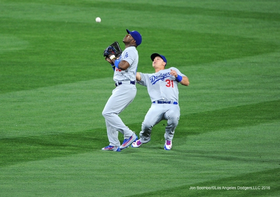 Los Angeles Dodgers Yasiel Puig and Joc Pederson during game against the San Diego Padres Tuesday, April 5, 2016 at Petco Park in San Diego,California. The Dodgers beat the Padres 3-0