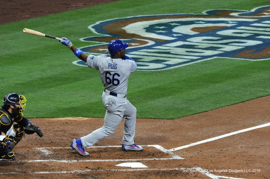 Los Angeles Dodgers Yasiel Puig triples during game against the San Diego Padres Tuesday, April 5, 2016 at Petco Park in San Diego,California. The Dodgers beat the Padres 3-0