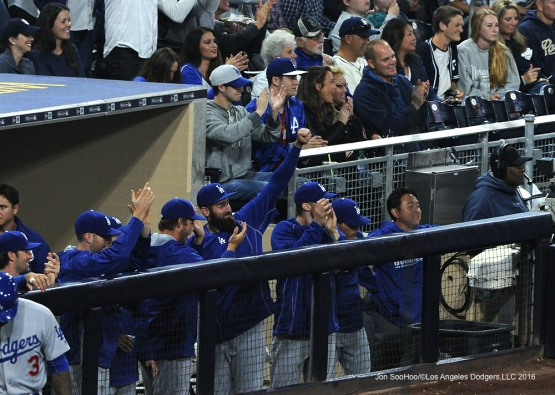 Los Angeles Dodgers cheer for Puig during game against the San Diego Padres Tuesday, April 5, 2016 at Petco Park in San Diego,California. The Dodgers beat the Padres 3-0