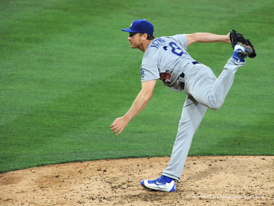 Los Angeles Dodgers Scott Kazamir during game against the San Diego Padres Tuesday, April 5, 2016 at Petco Park in San Diego,California. The Dodgers beat the Padres 3-0