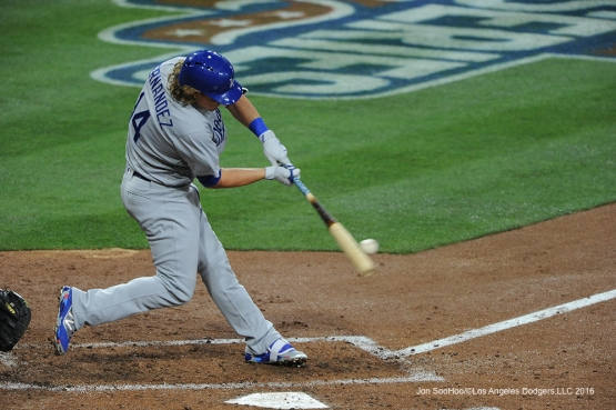 Los Angeles Dodgers Kike Hernandez during game against the San Diego Padres Tuesday, April 5, 2016 at Petco Park in San Diego,California. The Dodgers beat the Padres 3-0