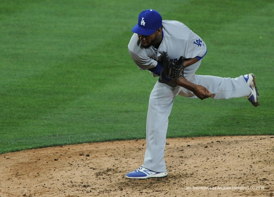 Los Angeles Dodgers Pedro Baez pitches the seventh during game against the San Diego Padres Tuesday, April 5, 2016 at Petco Park in San Diego,California. The Dodgers beat the Padres 3-0