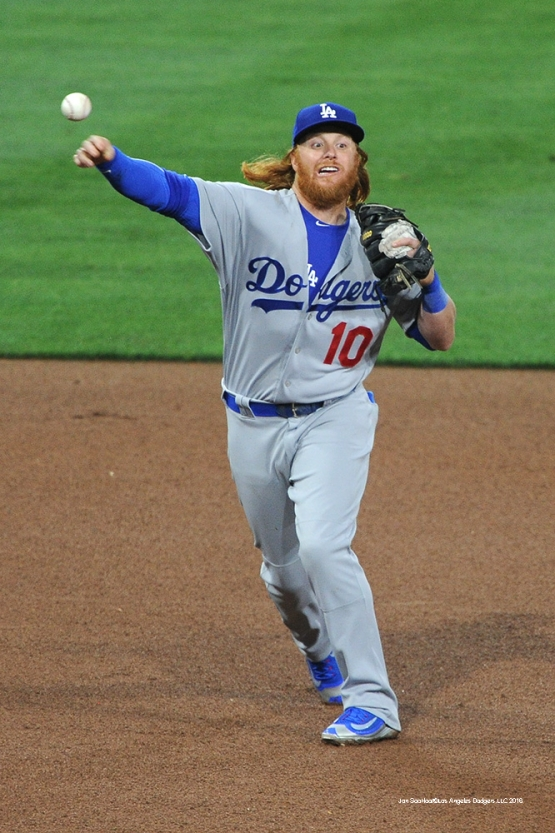 Los Angeles Dodgers Justin Turner throws to first during game against the San Diego Padres Tuesday, April 5, 2016 at Petco Park in San Diego,California. The Dodgers beat the Padres 3-0