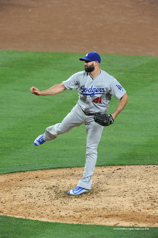 Los Angeles Dodgers Chris Hatcher during game against the San Diego Padres Tuesday, April 5, 2016 at Petco Park in San Diego,California. The Dodgers beat the Padres 3-0