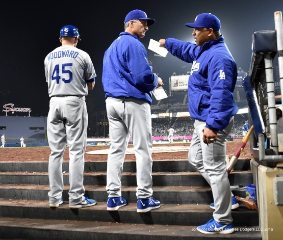 Los Angeles Dodgers Dave Roberts talks it up during game against the San Diego Padres Tuesday, April 5, 2016 at Petco Park in San Diego,California. The Dodgers beat the Padres 3-0