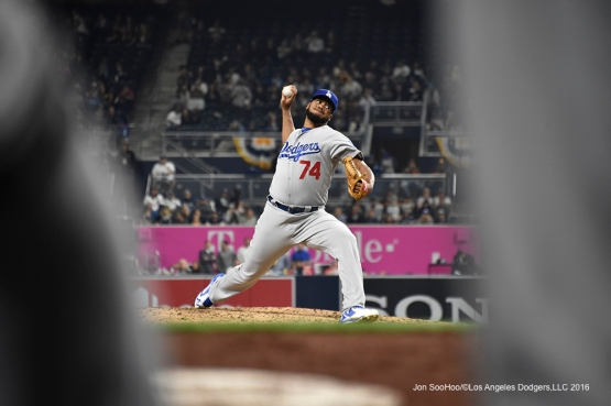 Los Angeles Dodgers Kenley Jansen during game against the San Diego Padres Tuesday, April 5, 2016 at Petco Park in San Diego,California. The Dodgers beat the Padres 3-0