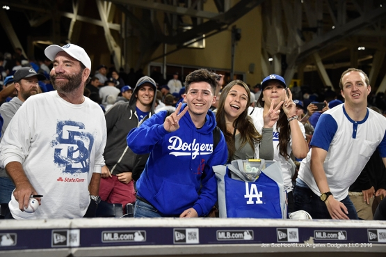 Great Los Angeles Dodger fans after game against the San Diego Padres Tuesday, April 5, 2016 at Petco Park in San Diego,California. The Dodgers beat the Padres 3-0