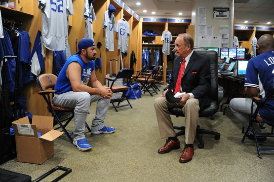 Los Angeles Dodgers Adrian Gonzalez with Dick Enberg prior to game against the San Diego Padres Wednesday, April 6, 2016 at Petco Park in San Diego,California. The Dodgers beat the Padres