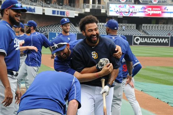 Los Angeles Dodgers Adrian Gonzalez and Matt Kemp prior to game against the San Diego Padres Wednesday, April 6, 2016 at Petco Park in San Diego,California. The Dodgers beat the Padres