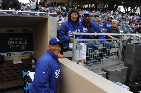 Los Angeles Dodgers Dave Roberts with his parents prior to game against the San Diego Padres Wednesday, April 6, 2016 at Petco Park in San Diego,California. The Dodgers beat the Padres