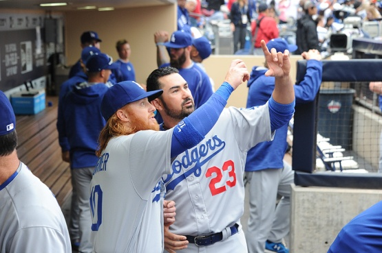 Los Angeles Dodgers Adrian Gonzalez and Justin Turner prior to game against the San Diego Padres Wednesday, April 6, 2016 at Petco Park in San Diego,California. The Dodgers beat the Padres