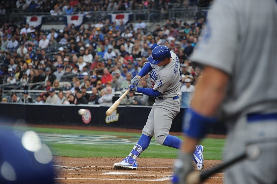 Los Angeles Dodgers Joc Pederson hits against the San Diego Padres Wednesday, April 6, 2016 at Petco Park in San Diego,California. The Dodgers beat the Padres