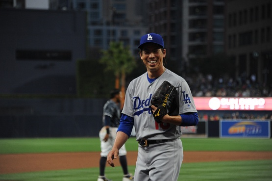 Los Angeles Dodgers Kenta Maeda smiles during game against the San Diego Padres Wednesday, April 6, 2016 at Petco Park in San Diego,California. The Dodgers beat the Padres