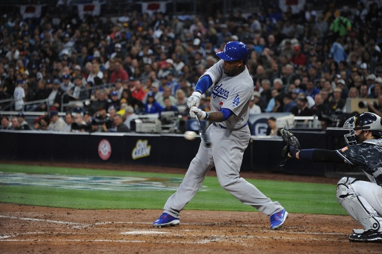 Los Angeles Dodgers Carl Crawford connects during game against the San Diego Padres Wednesday, April 6, 2016 at Petco Park in San Diego,California. The Dodgers beat the Padres