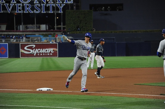 Los Angeles Dodgers Kenta Maeda homers against the San Diego Padres Wednesday, April 6, 2016 at Petco Park in San Diego,California. The Dodgers beat the Padres